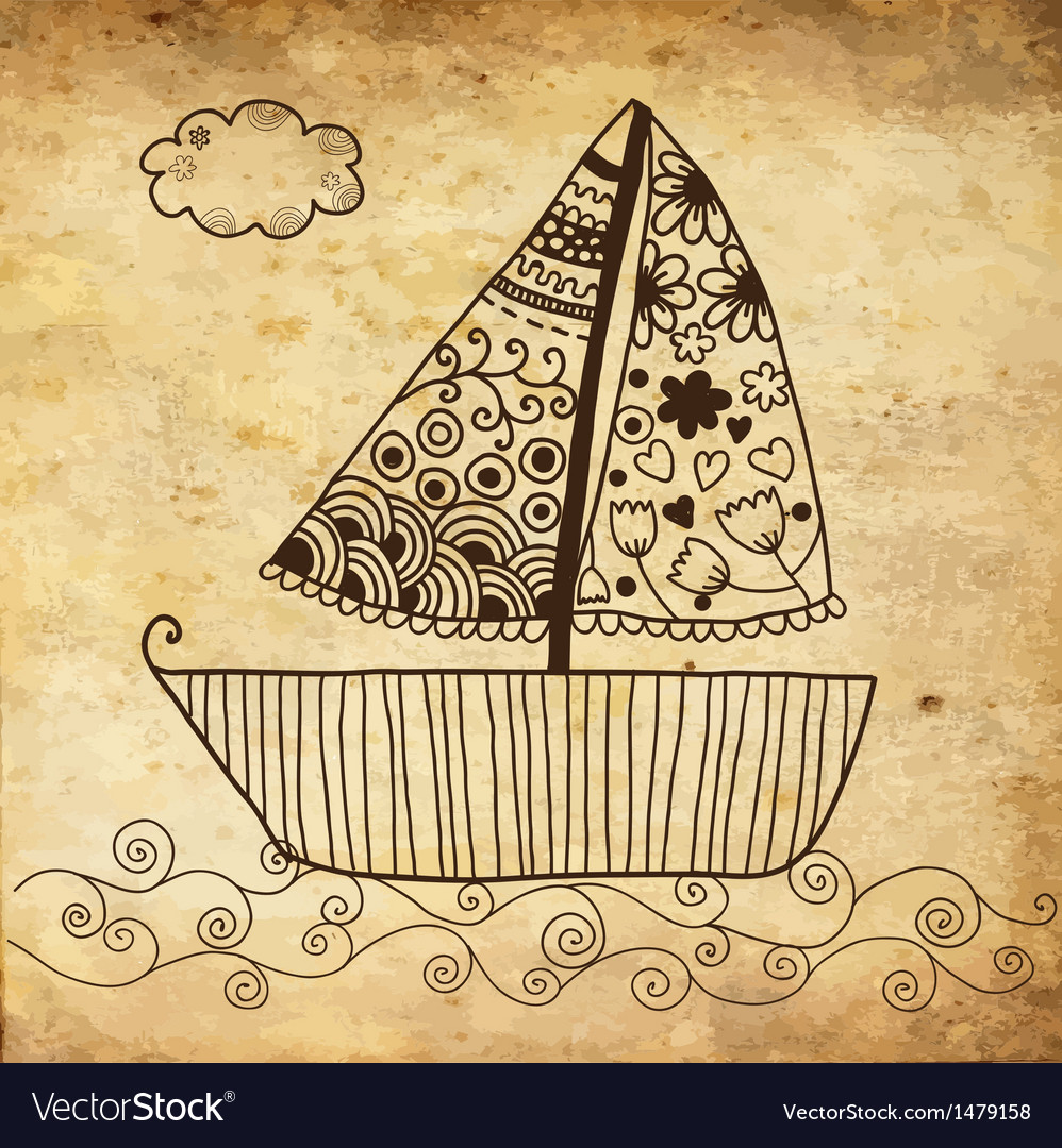Boat floating on the sea background on grunge vector | Price: 1 Credit (USD $1)