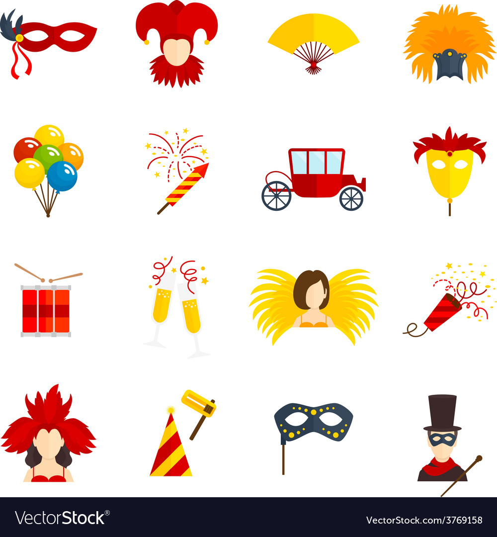Carnival icons set flat vector | Price: 1 Credit (USD $1)