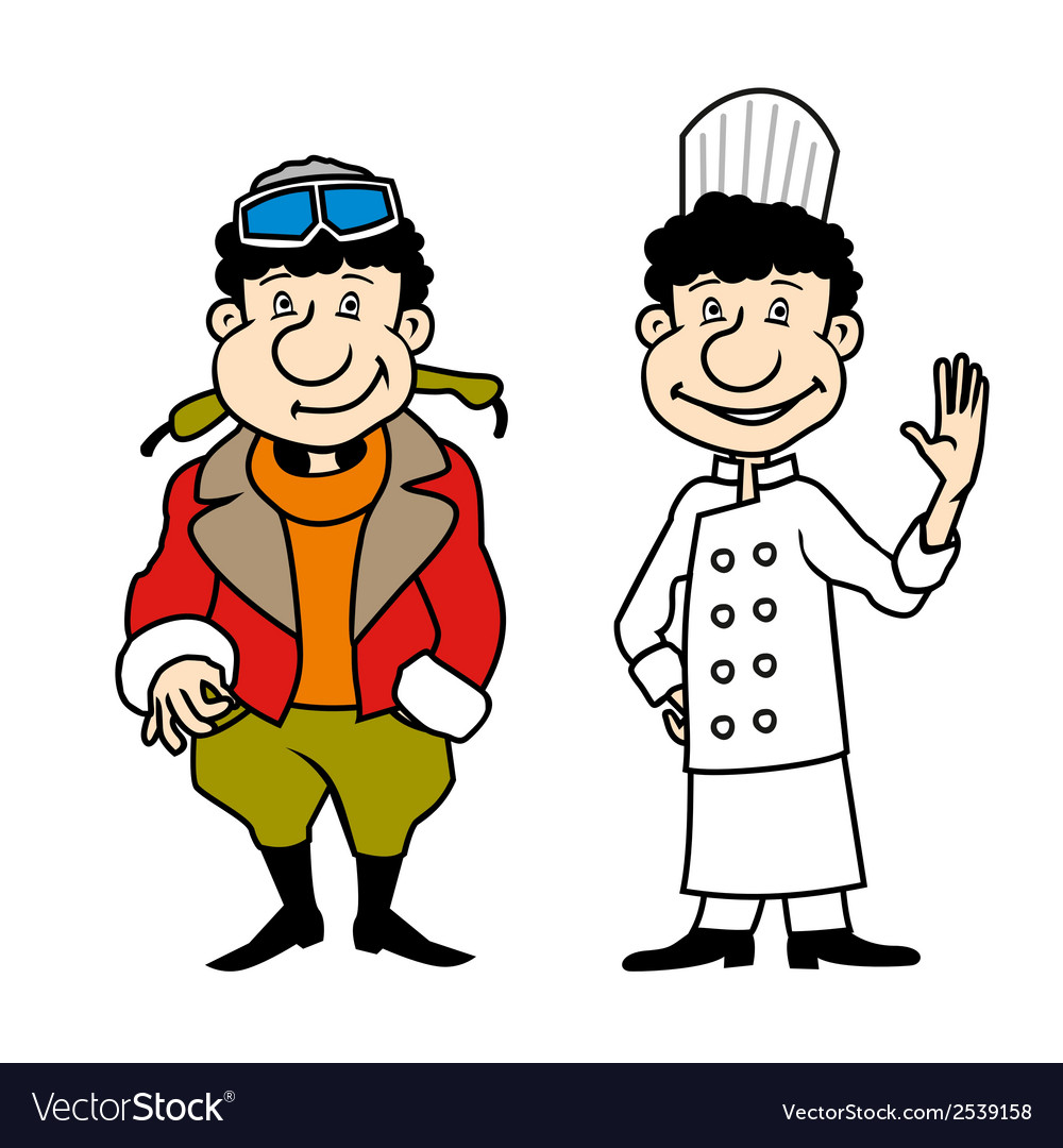 Character pilot and chef set vector | Price: 1 Credit (USD $1)