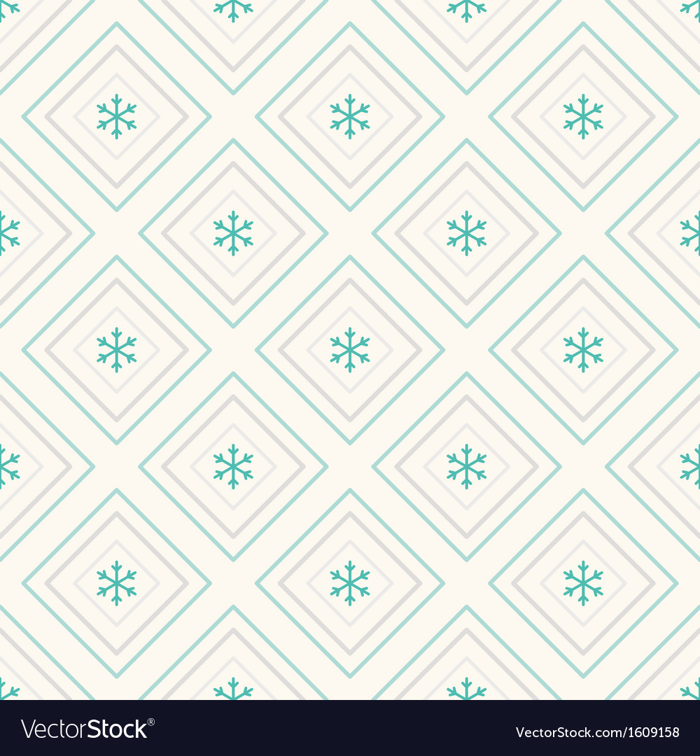 Geometric seamless pattern rhombus and snowflakes vector | Price: 1 Credit (USD $1)