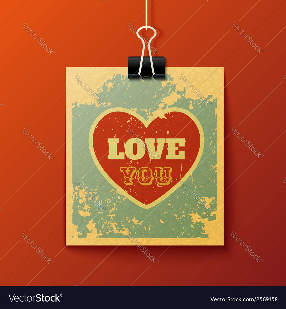 Hanging love you retro card vector | Price: 1 Credit (USD $1)