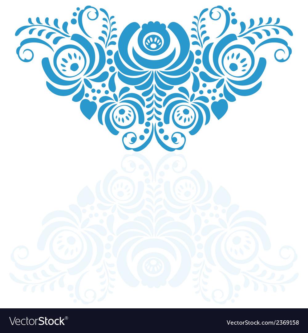 Ornate elegant floral frame in gzhel style vector | Price: 1 Credit (USD $1)