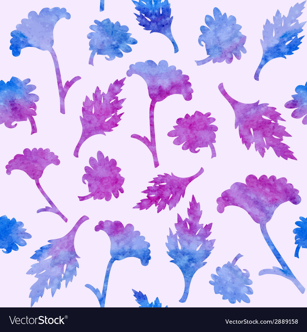 Seamless pattern with watercolor flowers vector | Price: 1 Credit (USD $1)