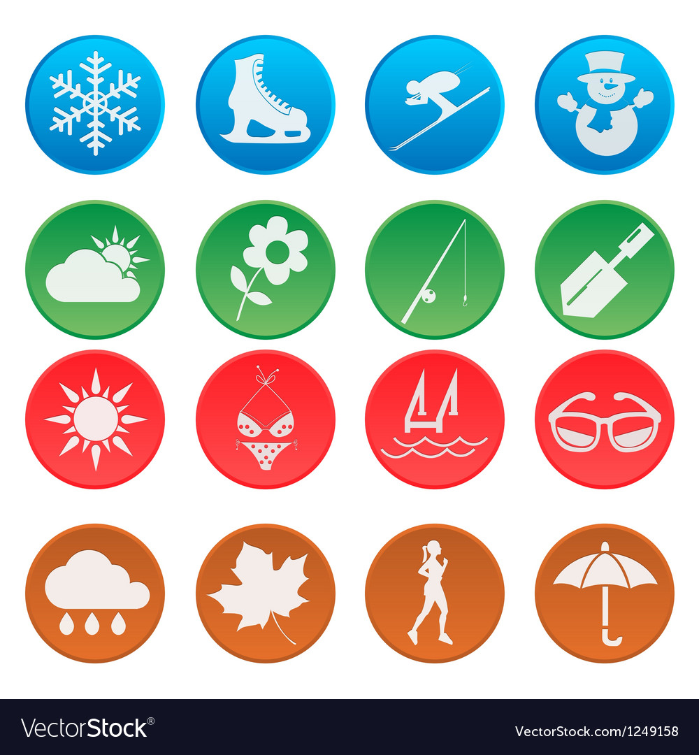 Season weather and activity icon set 1 vector | Price: 1 Credit (USD $1)