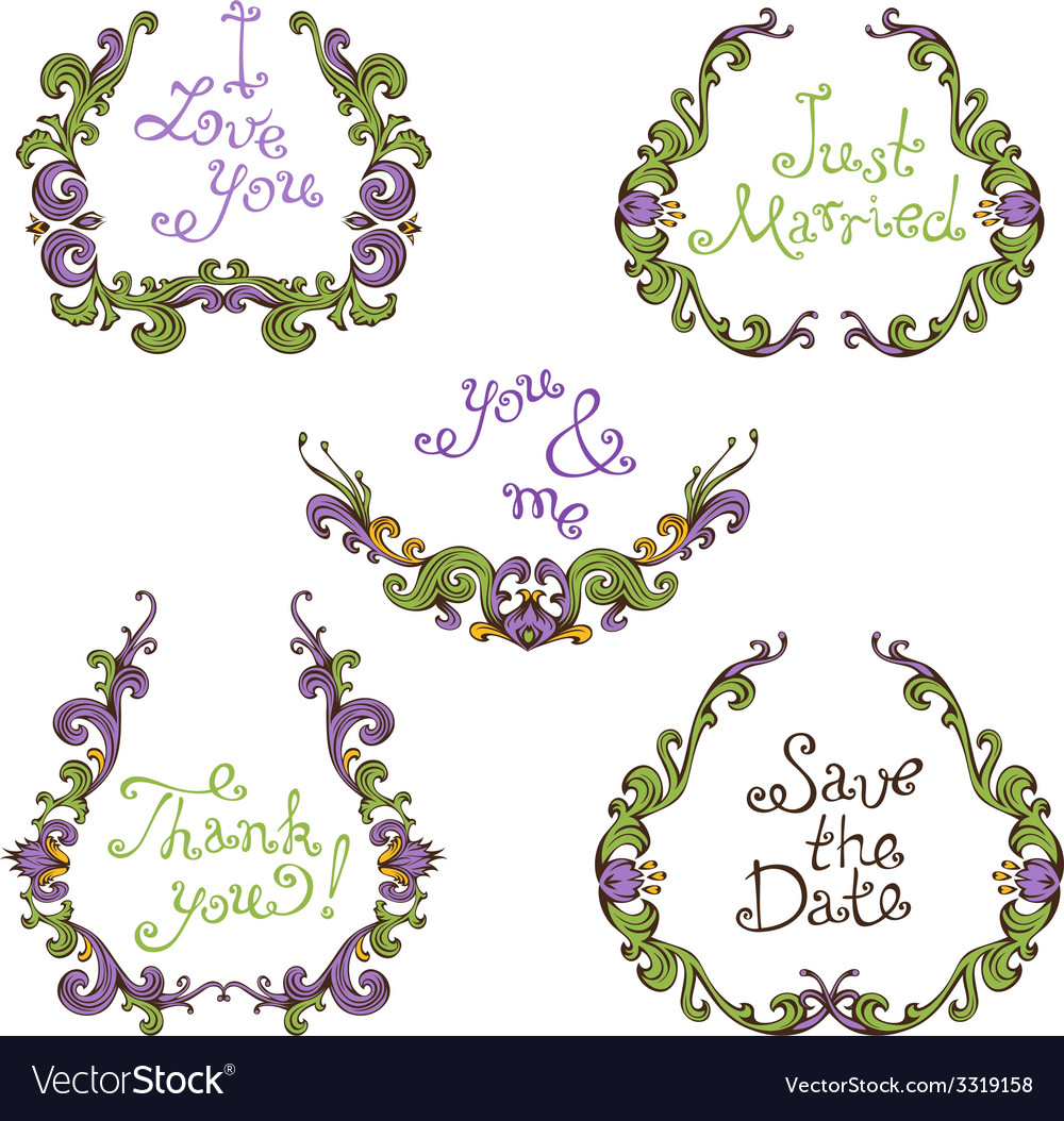 Set of hand-drawn calligraphic vintage wreathes vector | Price: 1 Credit (USD $1)