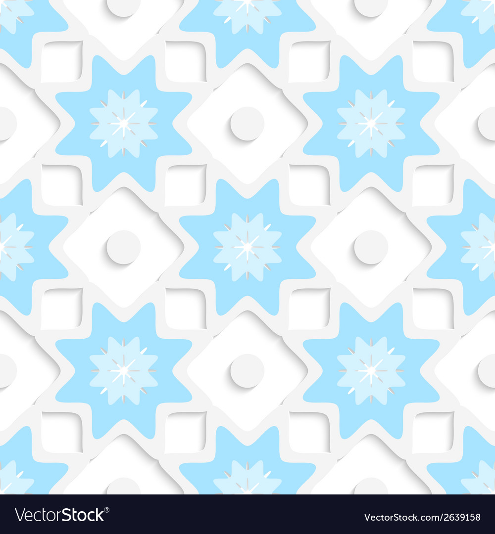 White snowflakes and dots with blue top seamless vector | Price: 1 Credit (USD $1)