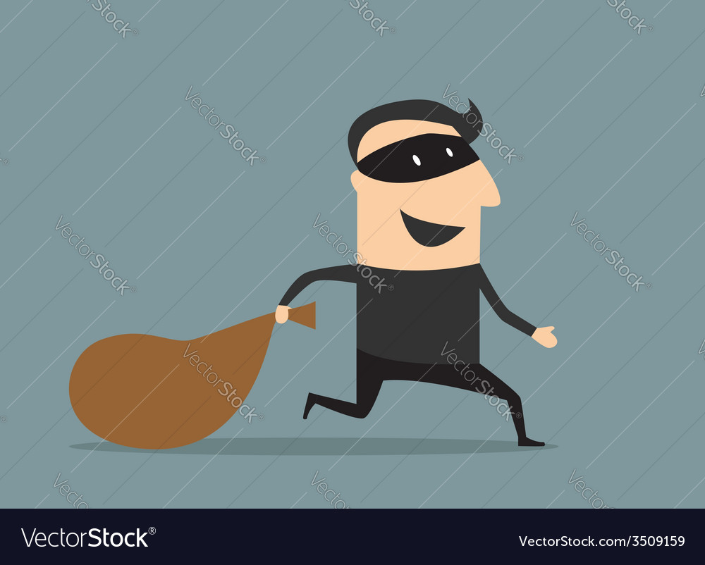 Cartoon thief in mask with sack vector | Price: 1 Credit (USD $1)