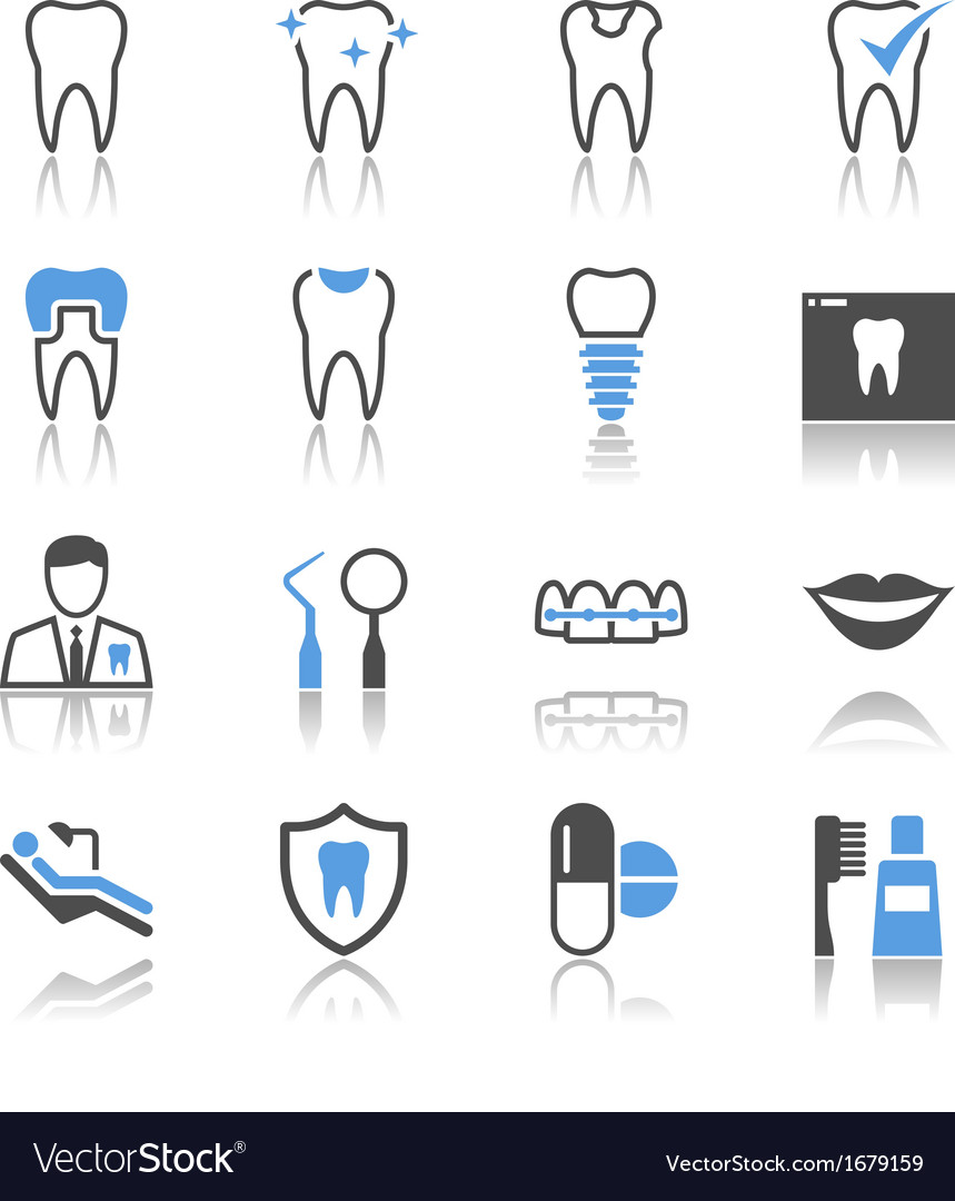 Dental icons reflection vector | Price: 1 Credit (USD $1)