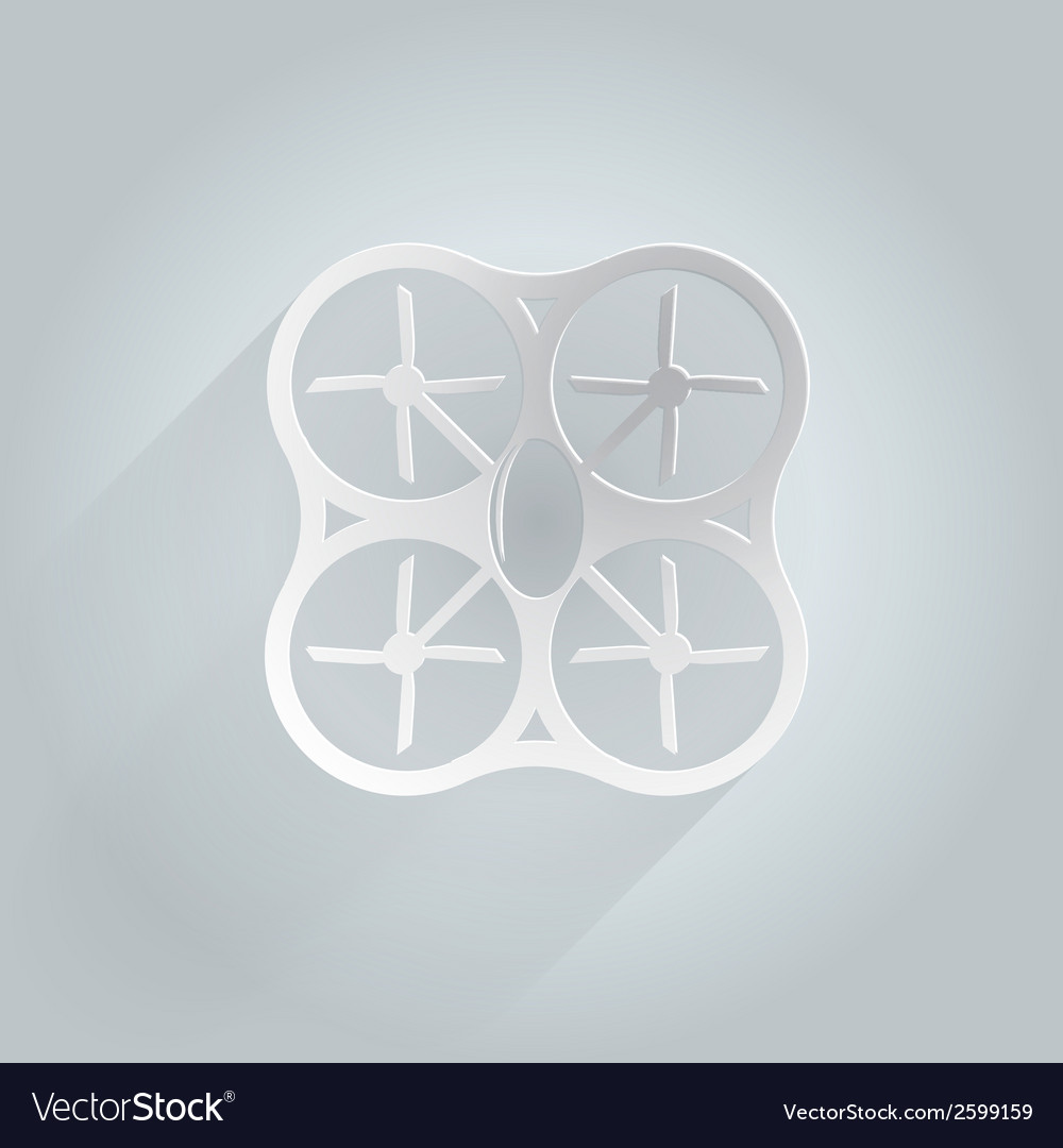 Flat icon for white quadrocopter vector | Price: 1 Credit (USD $1)