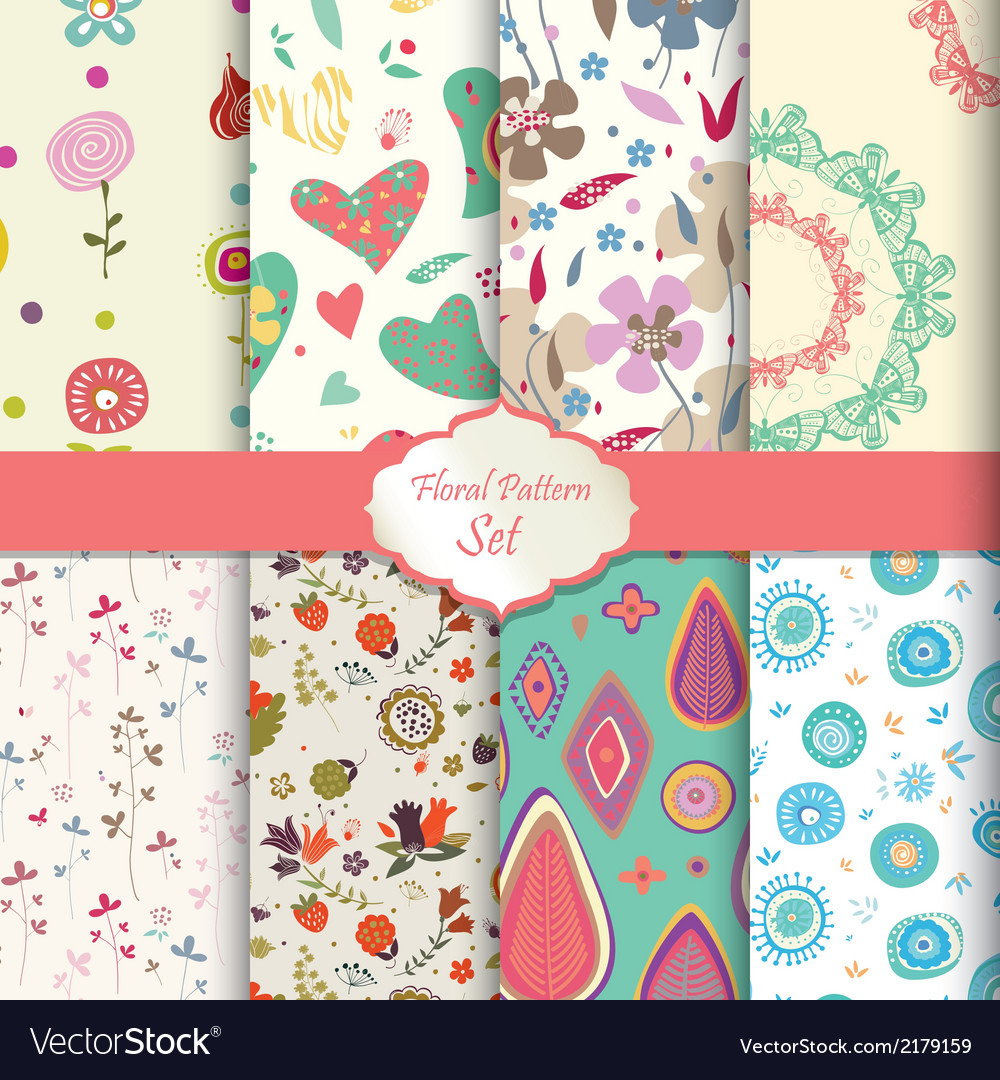 Floral pattern set seamless background vector | Price: 1 Credit (USD $1)