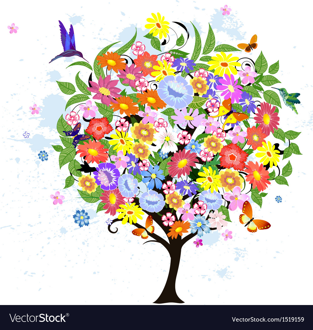 Flower abstract tree with birds vector | Price: 1 Credit (USD $1)