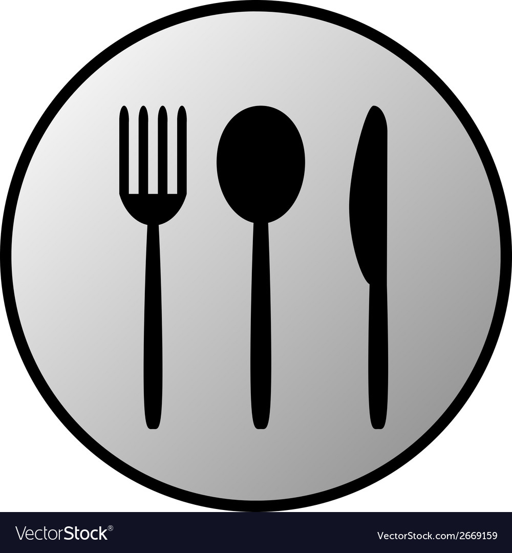 Fork spoon and knife button vector   Price: 1 Credit (USD $1)