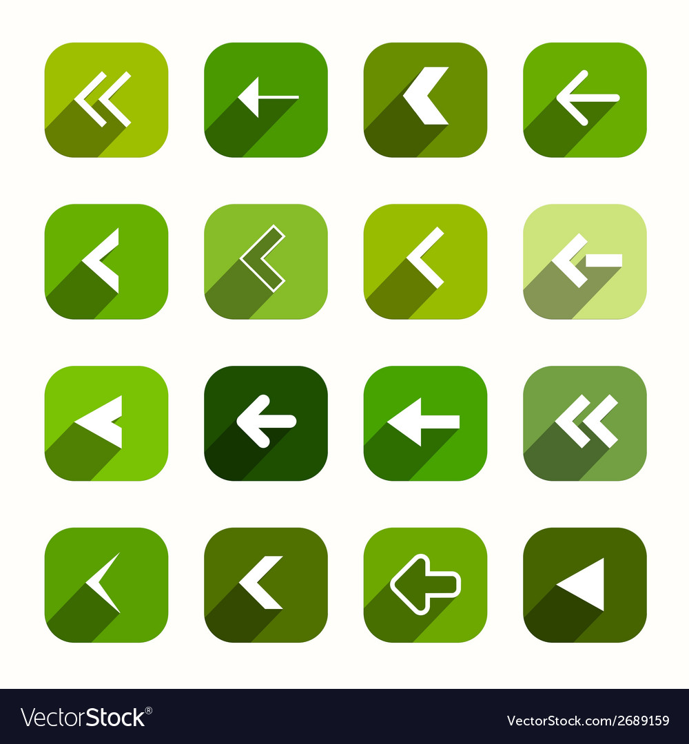 Green flat design arrows set in rounded squares vector | Price: 1 Credit (USD $1)