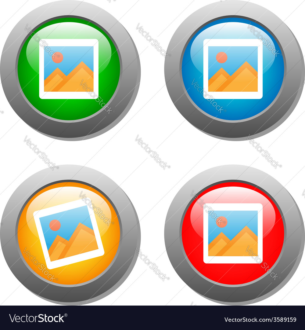 Photo icon on set of glass buttons vector | Price: 1 Credit (USD $1)
