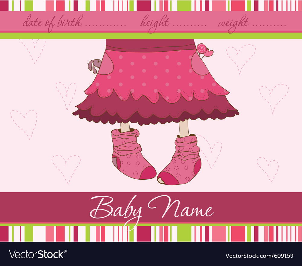 Pink baby girl arrival announcement card with funn vector | Price: 1 Credit (USD $1)