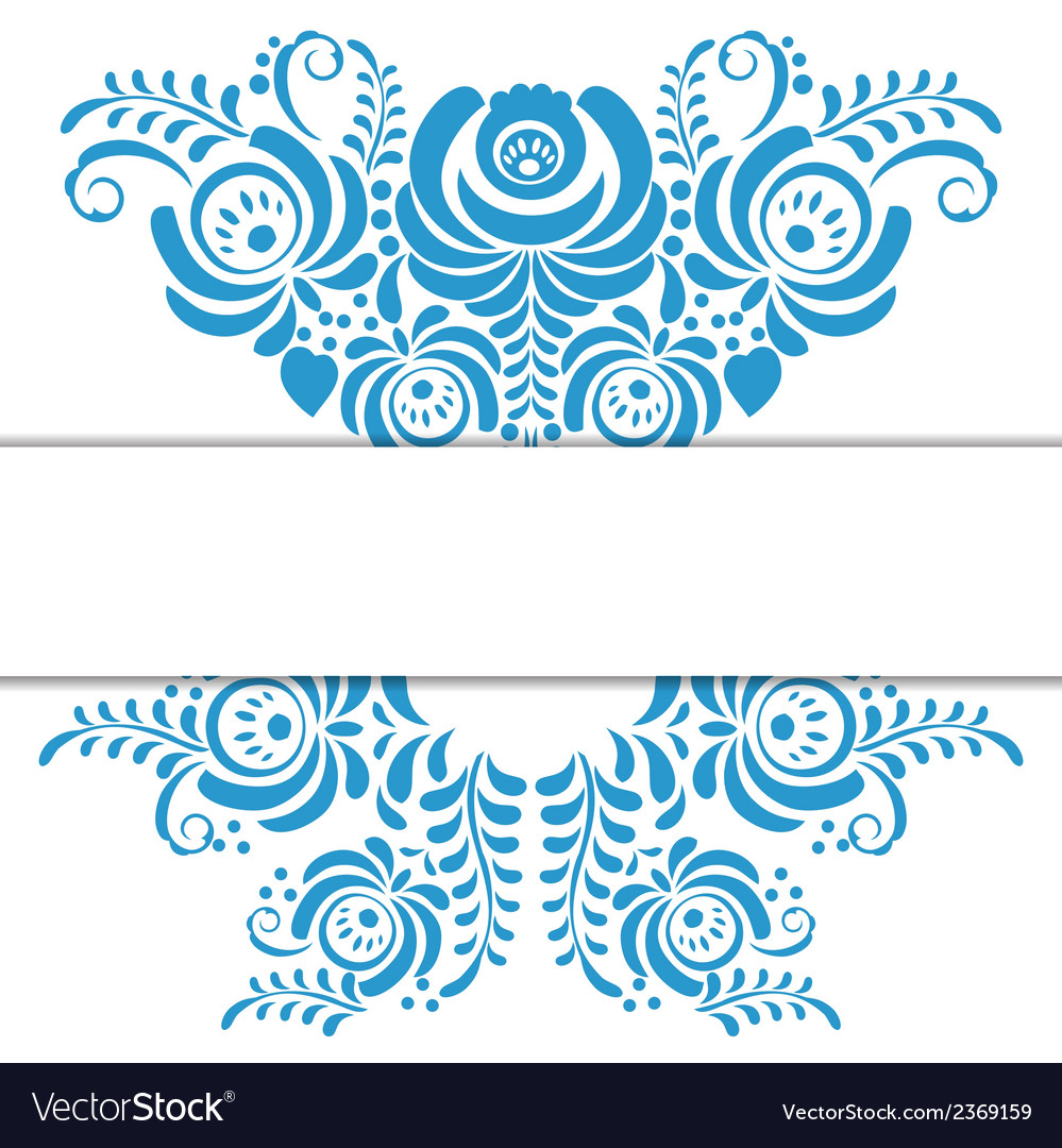 Russian ornaments art frame in gzhel style vector | Price: 1 Credit (USD $1)