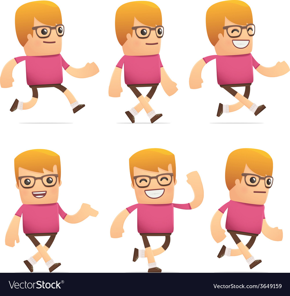 Set of dude character in different poses vector | Price: 3 Credit (USD $3)