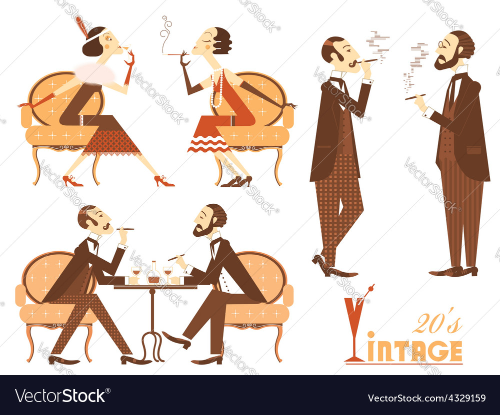 Vintage people isolated on white for design vector