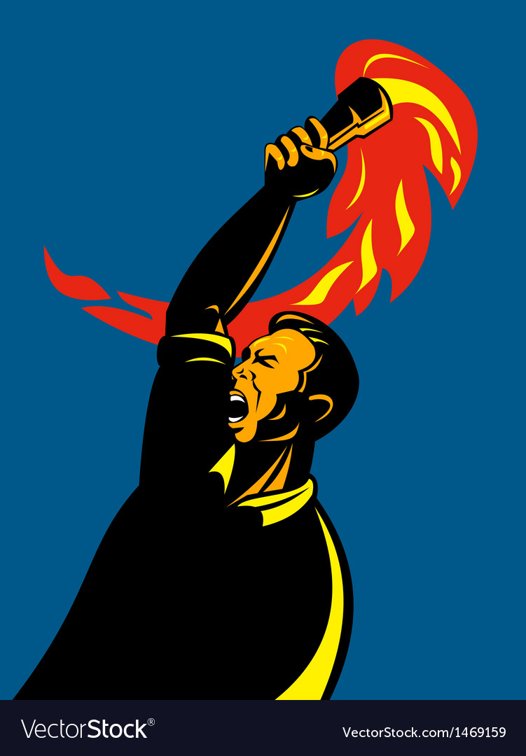 Worker with flaming torch vector | Price: 1 Credit (USD $1)