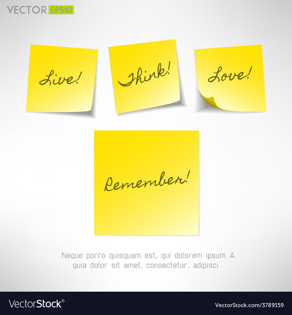 Yellow note sticker with message paper reminder vector | Price: 1 Credit (USD $1)