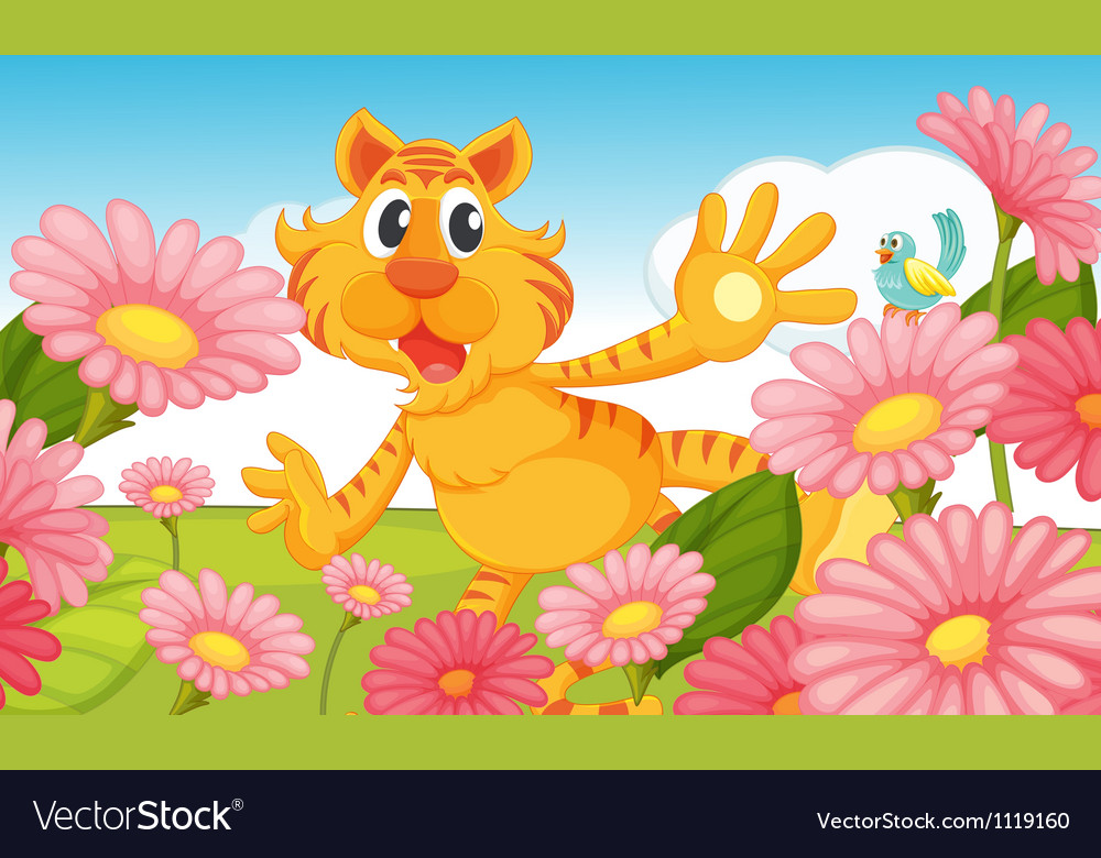 A smiling tiger and a bird vector | Price: 1 Credit (USD $1)