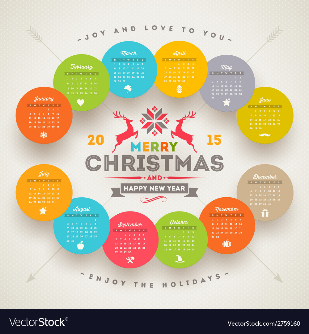 Calendar 2015 with christmas type design vector | Price: 1 Credit (USD $1)