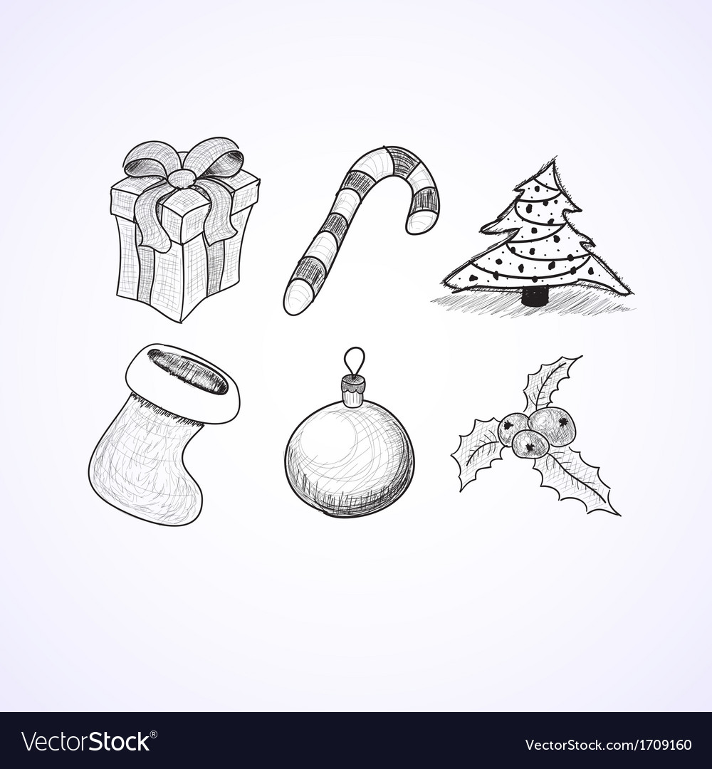 Christmas icons doodles sketchbook vector | Price: 1 Credit (USD $1)