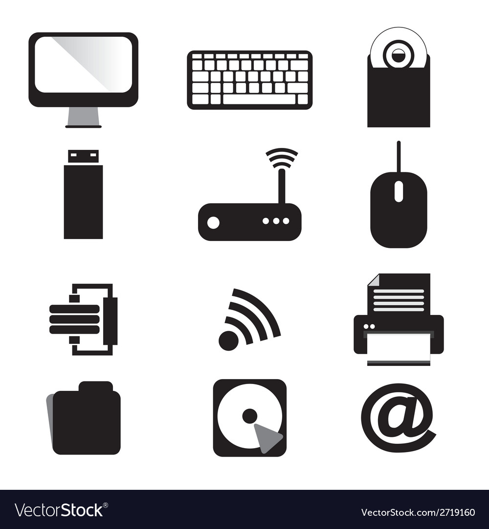 Computer and devices icons set vector | Price: 1 Credit (USD $1)