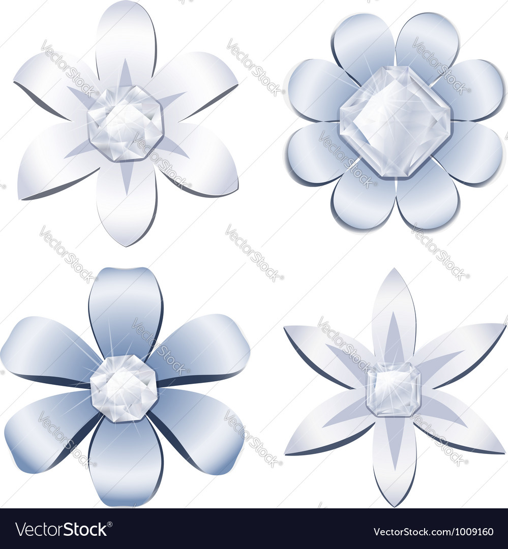 Diamond flowers vector | Price: 1 Credit (USD $1)