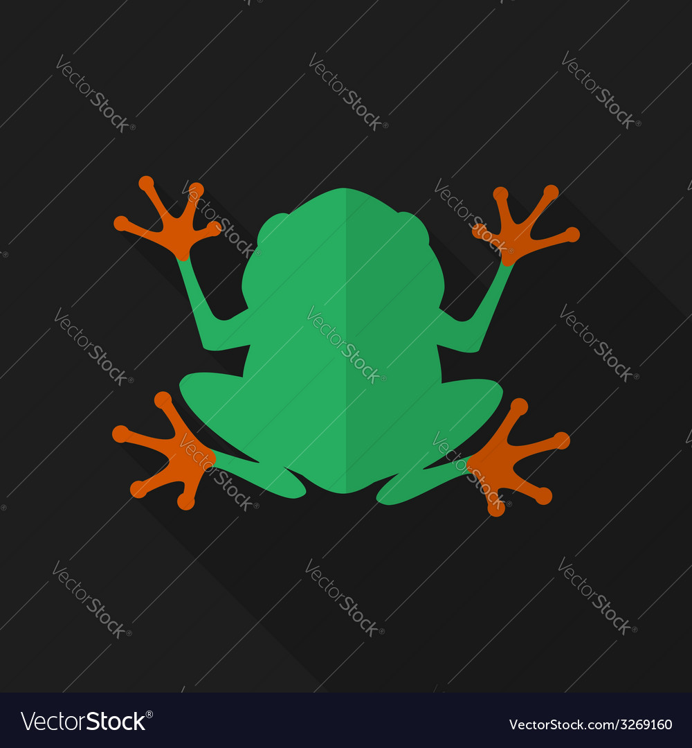 Flat frog with long shadow icon vector | Price: 1 Credit (USD $1)