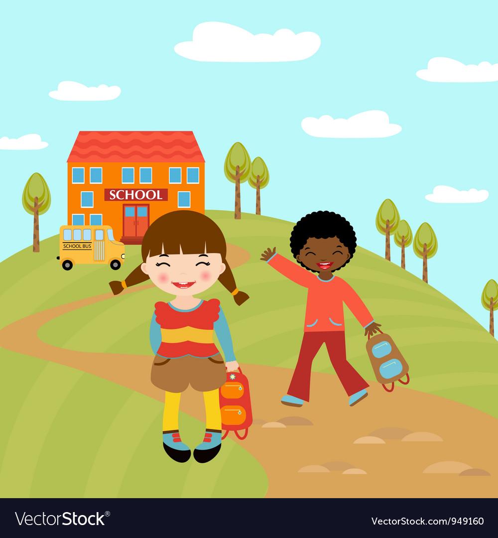 Kids go to school vector | Price: 3 Credit (USD $3)