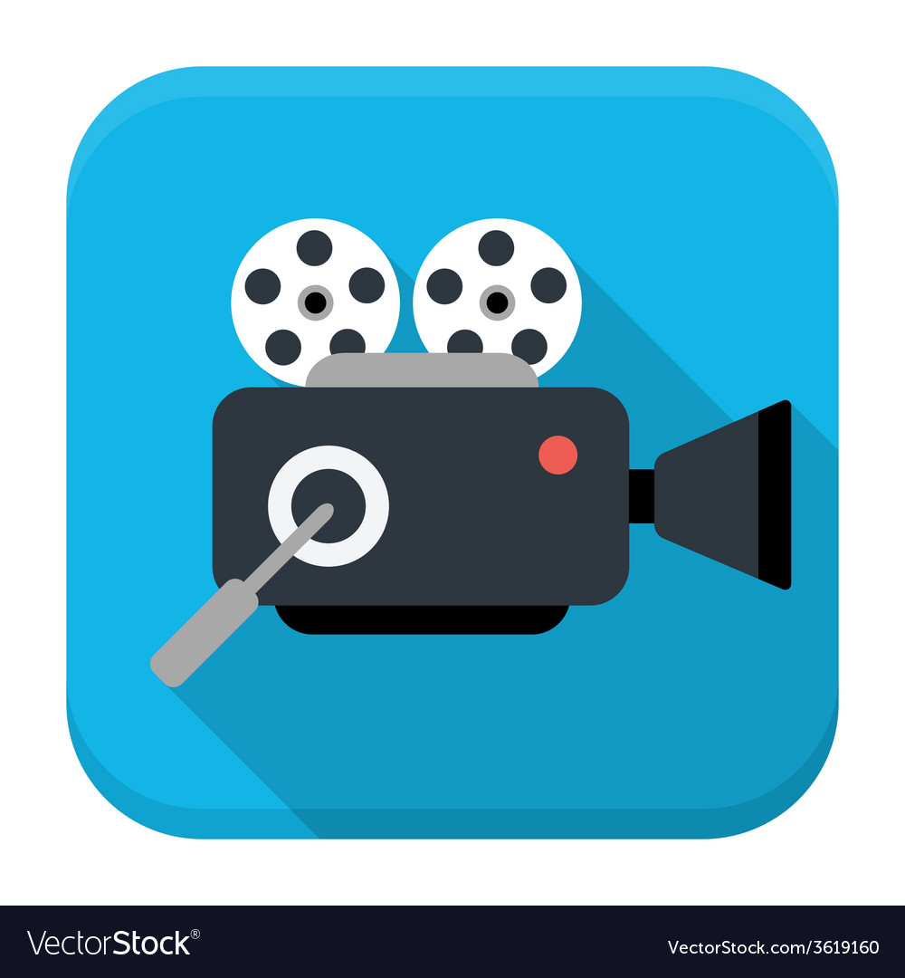 Movie cam flat app icon with long shadow vector | Price: 1 Credit (USD $1)