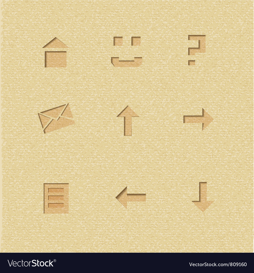 Set of interface icons on cardboard background vector | Price: 1 Credit (USD $1)