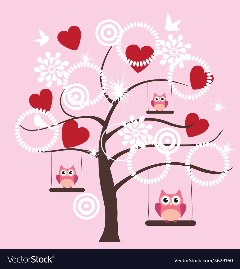 Tree heart owl vector | Price: 1 Credit (USD $1)