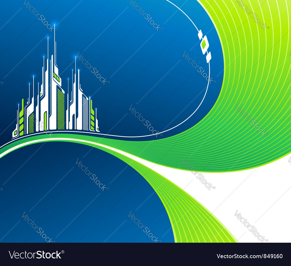 Wavy background with futuristic architecture vector | Price: 1 Credit (USD $1)