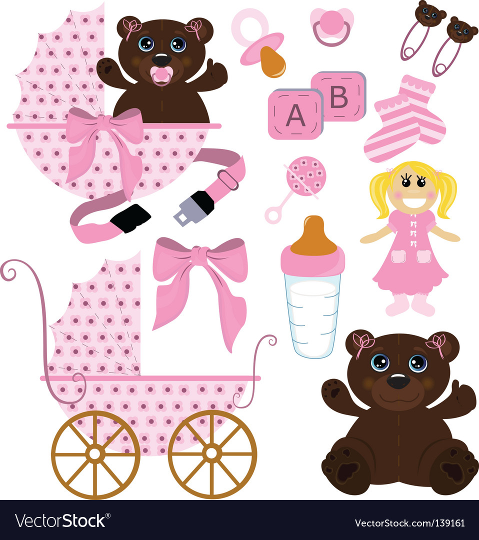 Baby girl stuff vector | Price: 1 Credit (USD $1)