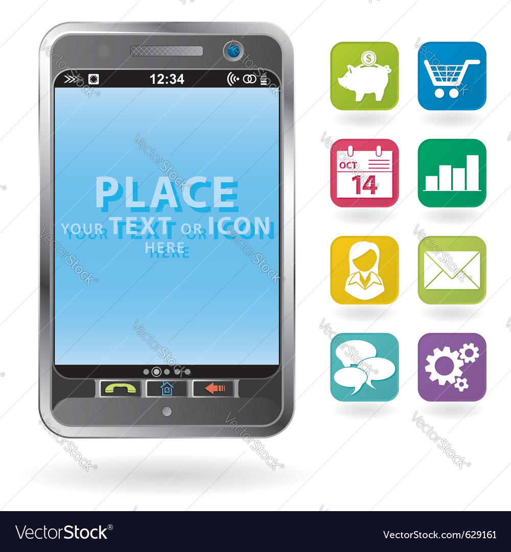 Mobile smartphone with a blank place for icon and vector | Price: 1 Credit (USD $1)