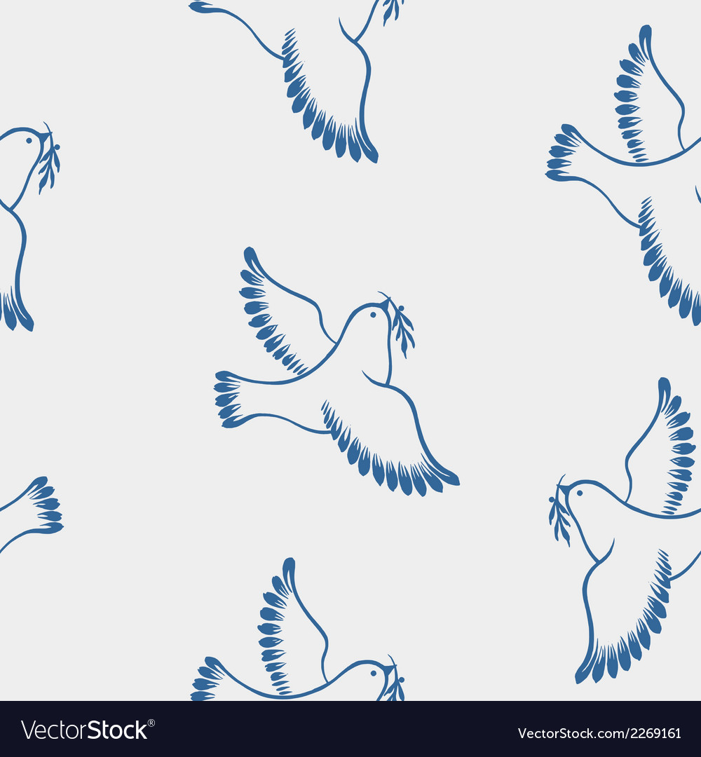 Seamless pattern dove of peace vector | Price: 1 Credit (USD $1)