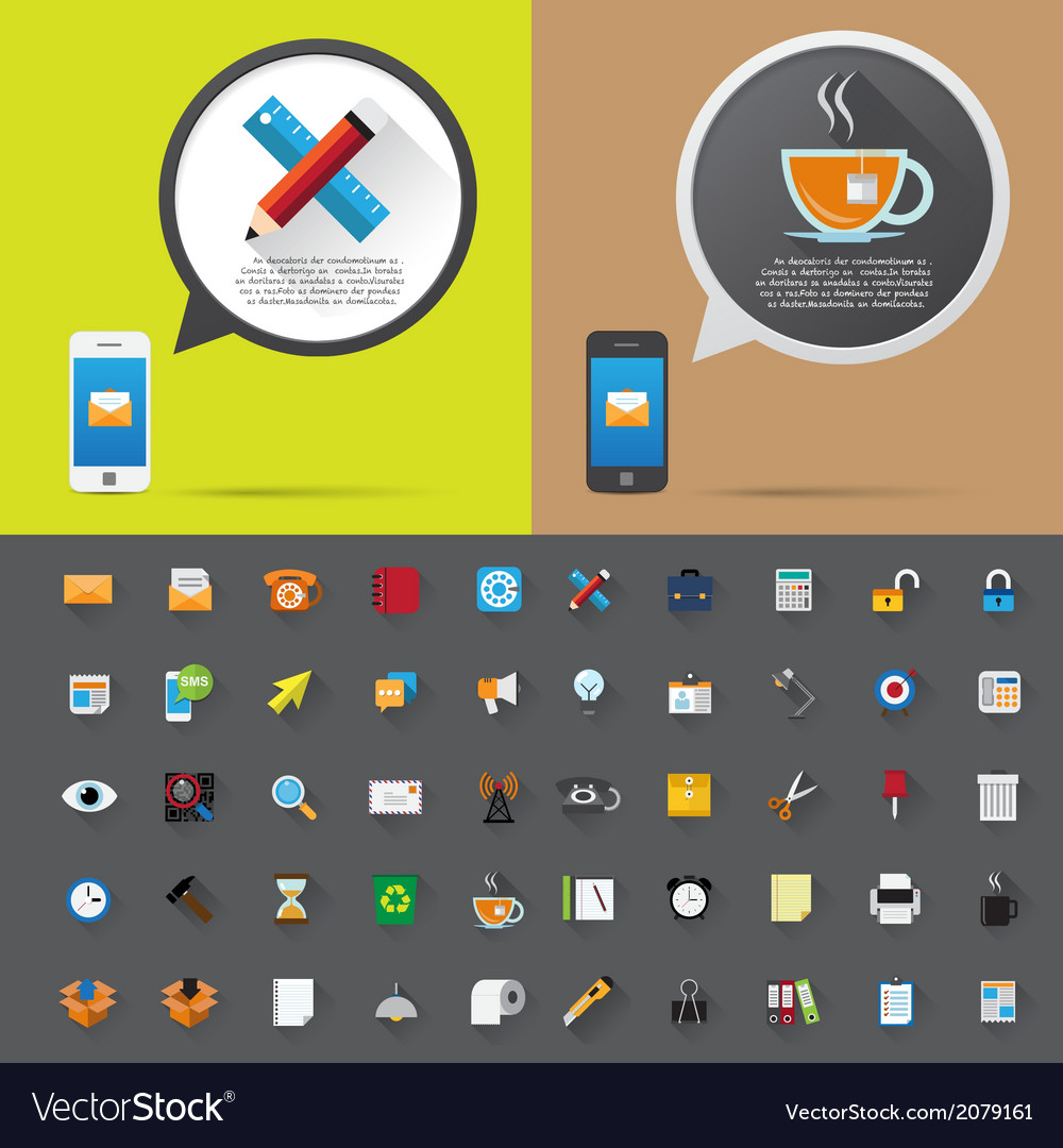 Smartphone alert and flat icons collection vector | Price: 1 Credit (USD $1)