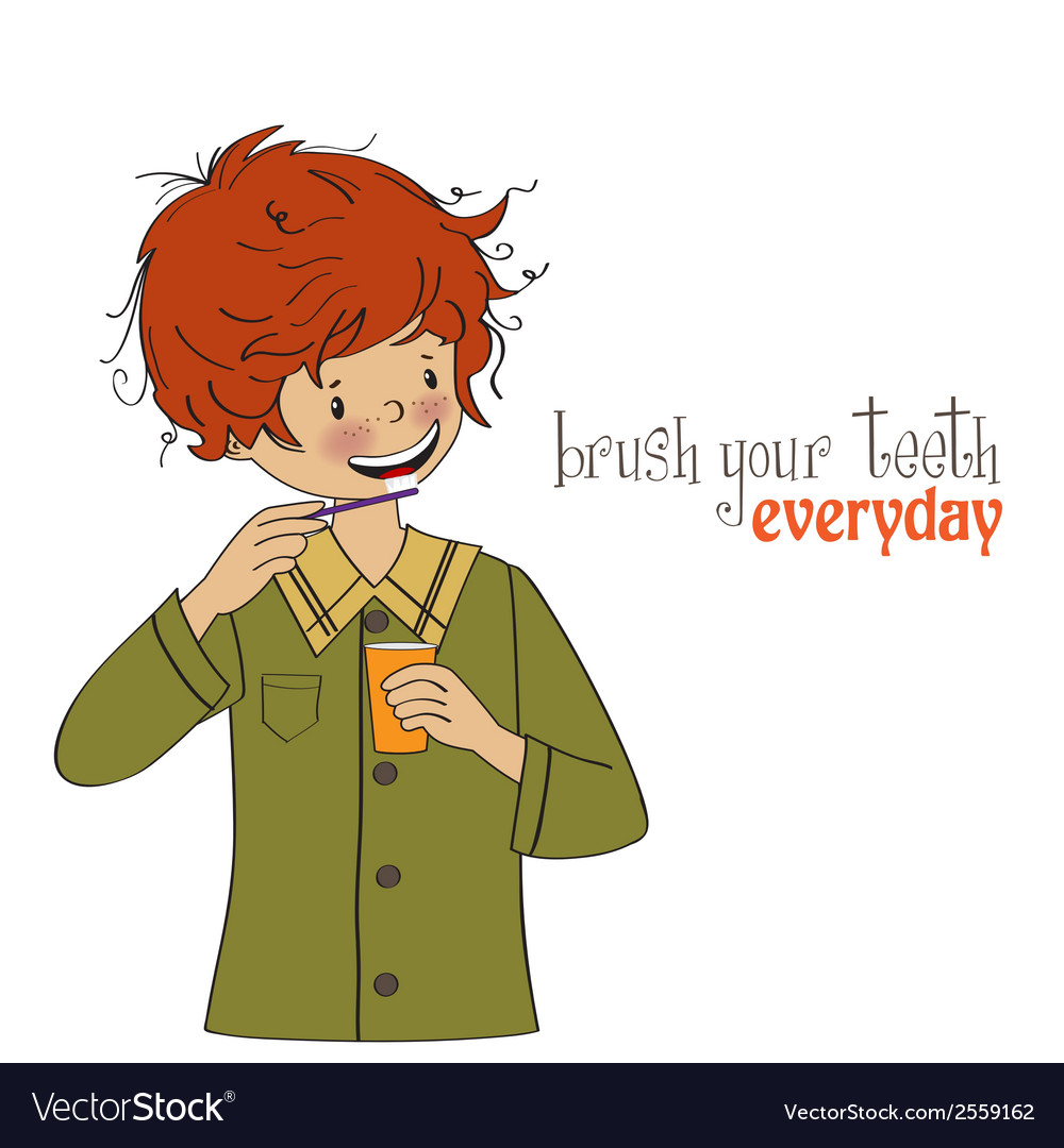 A boy brushing his teeth vector | Price: 1 Credit (USD $1)