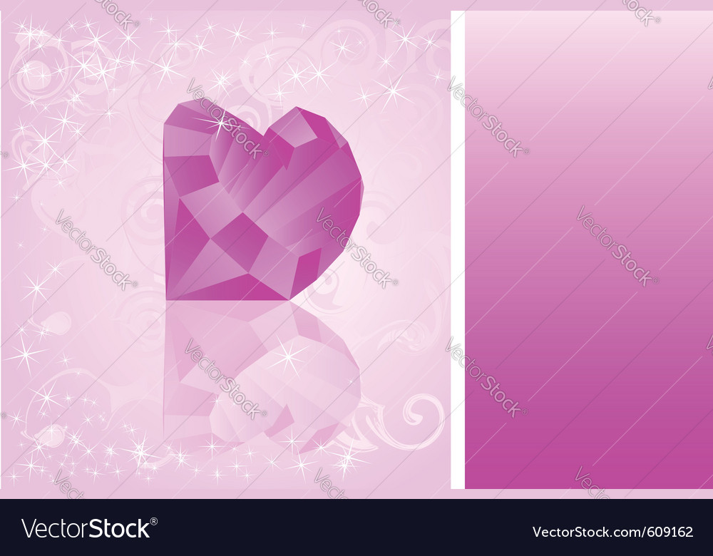 Card with diamond which has shape of heart vector | Price: 1 Credit (USD $1)