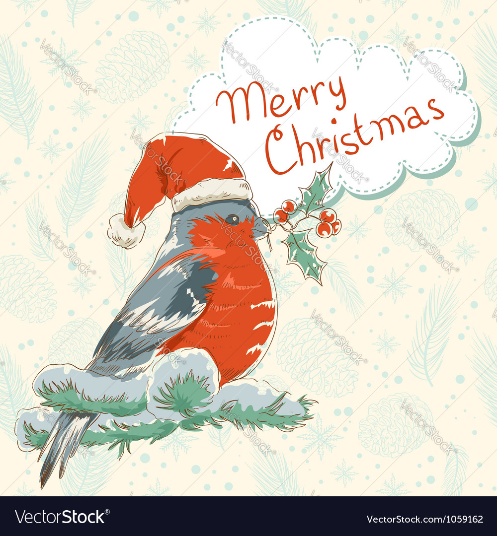 Christmas hand drawn ink retro postcard with bird vector | Price: 1 Credit (USD $1)