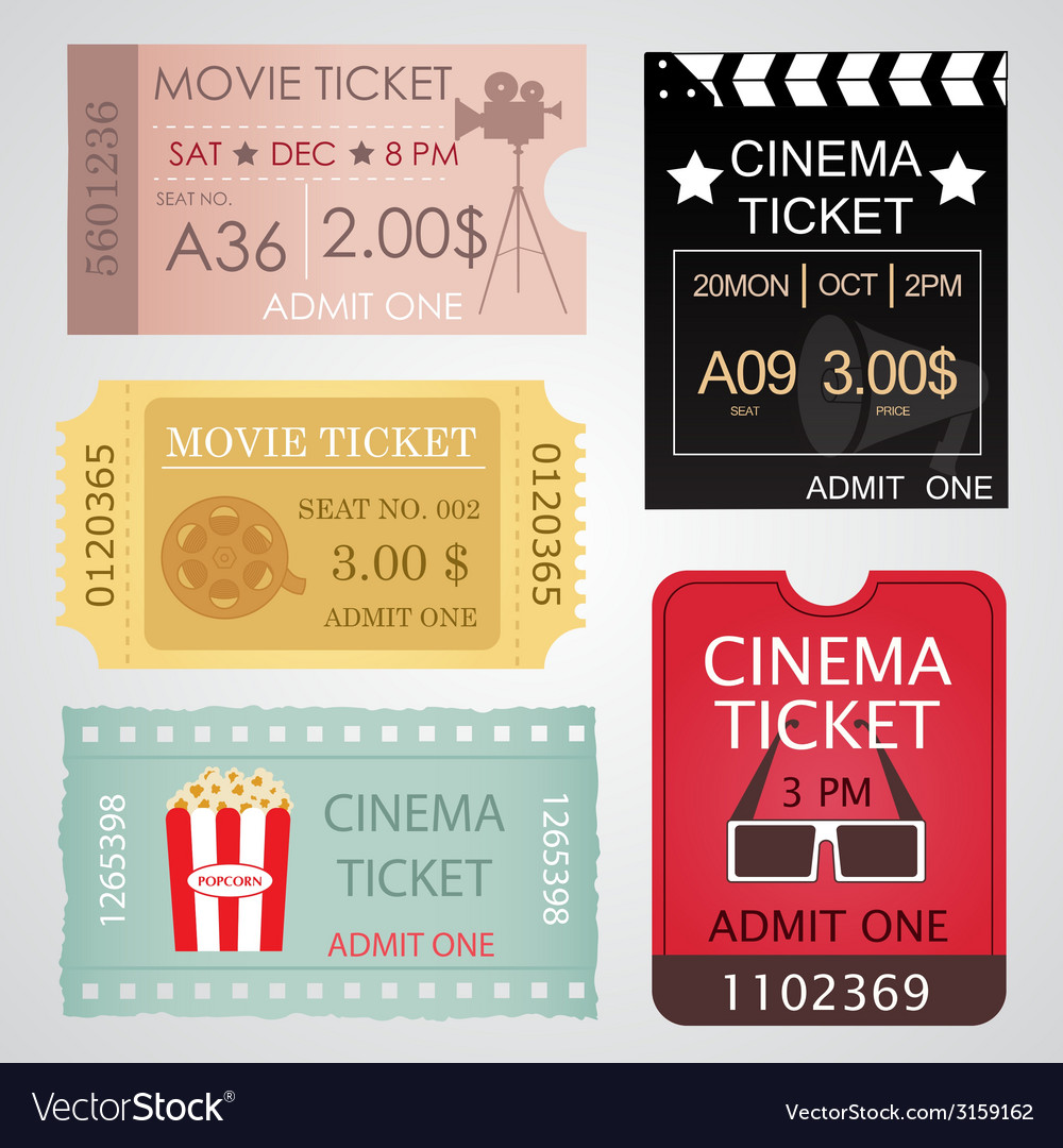 Cinema tickets set vector | Price: 1 Credit (USD $1)