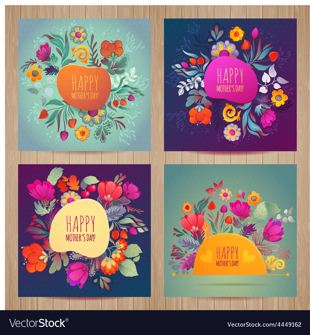 Happy motherss day greeting card set vector | Price: 1 Credit (USD $1)