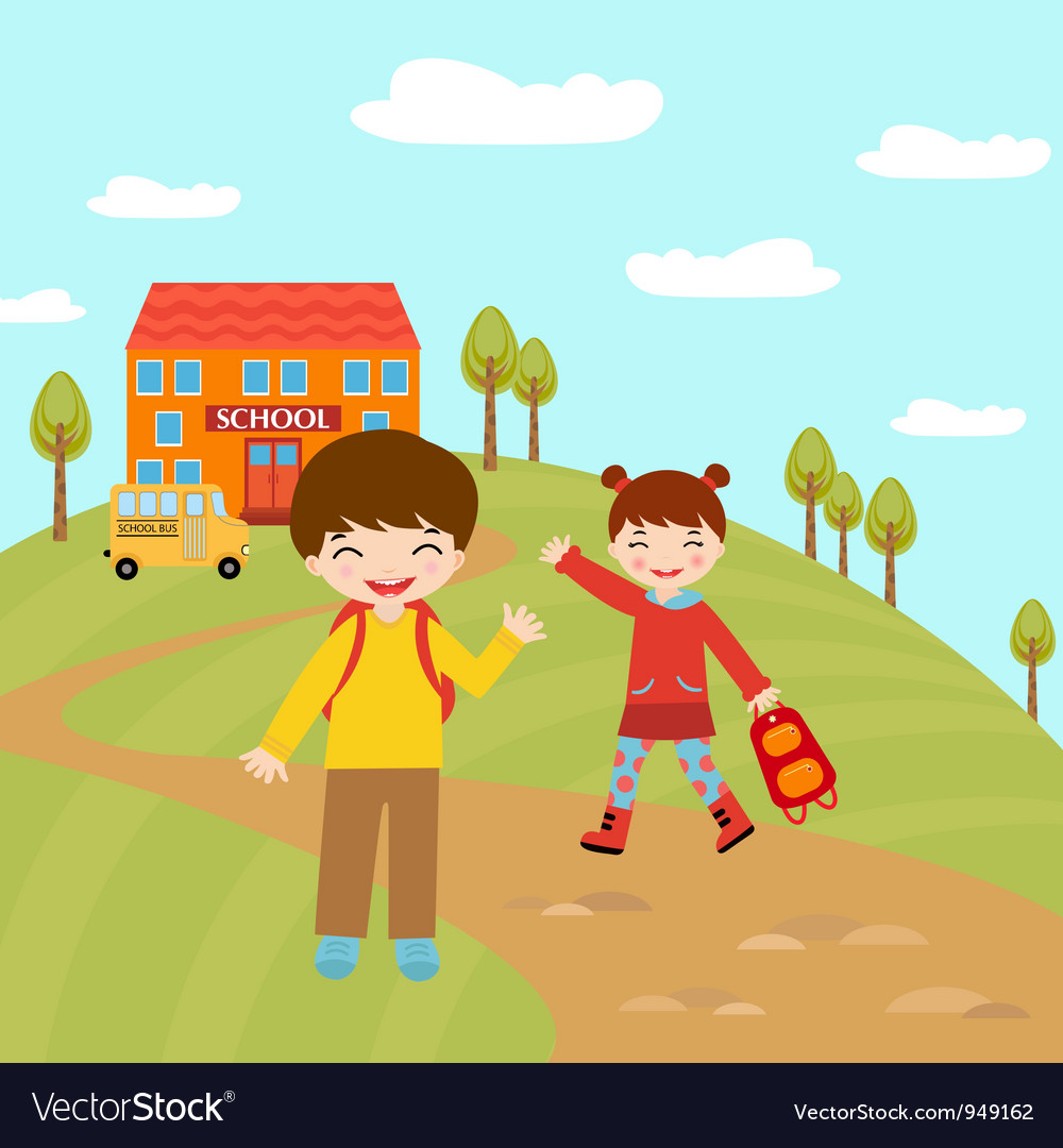 Kids going to school vector | Price: 3 Credit (USD $3)