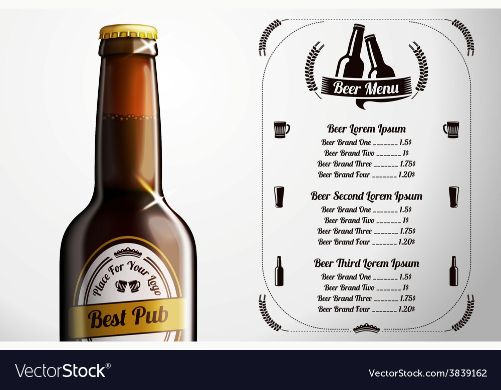 Menu template for alcohol with realistic brown vector | Price: 3 Credit (USD $3)