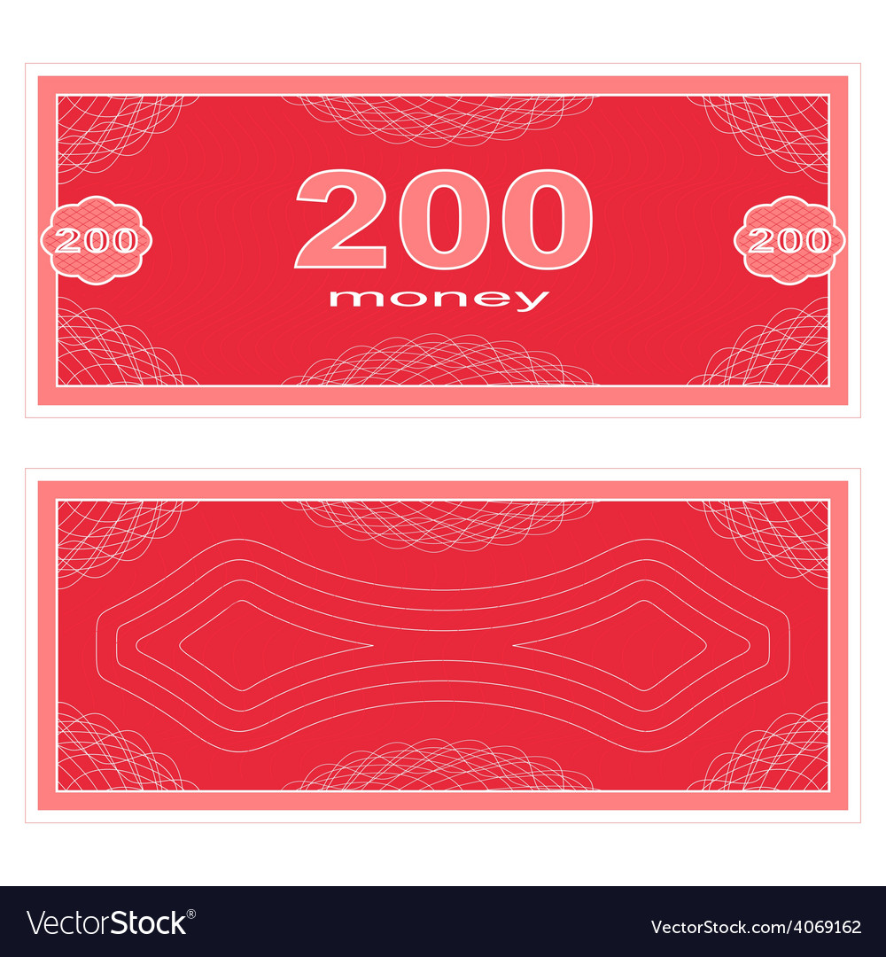 Play money two hundred vector | Price: 1 Credit (USD $1)