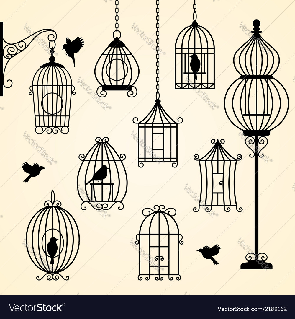Set of vintage bird cages vector | Price: 1 Credit (USD $1)