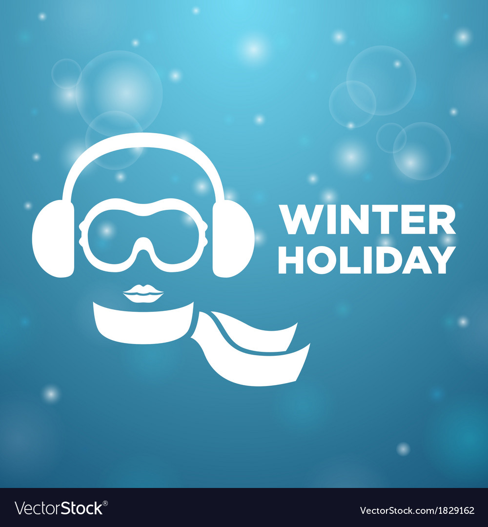 Winter holiday and icon women on blue background vector | Price: 1 Credit (USD $1)