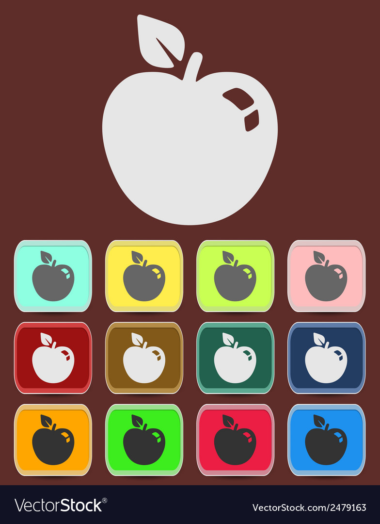 Apple sign icon fruit with leaf symbol vector   Price: 1 Credit (USD $1)